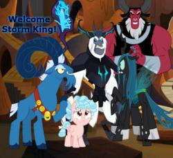 Size: 634x577   Tagged: safe, artist:dashiesparkle, artist:koolfrood, artist:nukarulesthehouse1, artist:tourniquetmuffin, artist:vector-brony, cozy glow, grogar, lord tirek, queen chrysalis, storm king, centaur, changeling, changeling queen, pony, my little pony: the movie, the beginning of the end, antagonist, caption, evil lair, fan made, female, filly, grogar's lair, group, hasbro, horns, lair, legion of doom, male, quadrupedal, ram, staff, staff of sacanas, vector