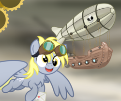 Size: 3000x2500 | Tagged: airship, artist:pizzamovies, cloud, cloudy, cutie mark, derpy hooves, envelope, epic derpy, female, flying, gears, goggles, heart, letter, mare, pegasus, propeller, safe, skull, smiling, smoke, solo, steampunk