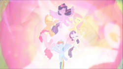 Size: 1745x983 | Tagged: safe, screencap, applejack, fluttershy, pinkie pie, rainbow dash, rarity, twilight sparkle, alicorn, earth pony, pegasus, pony, unicorn, the beginning of the end, cute, epic, ethereal mane, eyes closed, female, floating, glowing horn, holding hooves, light, magic, magic aura, magic of friendship, mane six, mare, nose in the air, smiling, spread wings, teamwork, twilight sparkle (alicorn), wings