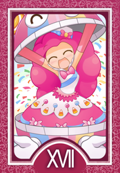 Size: 1200x1728 | Tagged: artist:howxu, bowtie, clothes, cute, diapinkes, eyes closed, female, human, humanized, open mouth, pinkie pie, safe, skirt, solo, tarot, tarot card