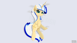 Size: 5120x2880 | Tagged: artist:just rusya, body pillow, body pillow design, chest fluff, looking at you, lying, oc, oc:4 bore, pony, safe, smiling, solo, unicorn