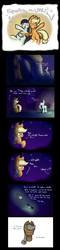 Size: 2000x8300 | Tagged: applejack, artist:heir-of-rick, bust, cider, coloratura, comic, dialogue, drunk, duo, earth pony, equestria the land i love, eyes closed, feels, female, hoof hold, implied bright mac, implied pear butter, mare, mood whiplash, music notes, night, pony, raised hoof, rara, sad, safe, singing, sitting, stars