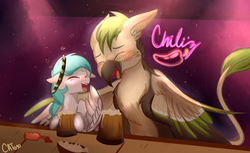 Size: 1840x1125 | Tagged: safe, artist:cottonheart05, oc, oc only, oc:cotton heart, oc:ralek, griffon, pegasus, pony, alcohol, chili's, drunk, happy, meme, open mouth, ricardo milos, when you see it