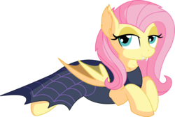 Size: 8028x5383 | Tagged: absurd res, artist:cyanlightning, bat ears, bat ponified, bat pony, cape, clothes, costume, fangs, female, flutterbat, flutterbat costume, fluttershy, looking at you, mare, nightmare night, nightmare night costume, pegasus, pony, prone, race swap, safe, scare master, simple background, solo, .svg available, transparent background, vector