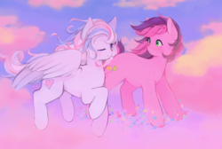 Size: 1280x860 | Tagged: safe, artist:serafelis, skywishes, star catcher, butterfly, earth pony, pegasus, pony, dancing in the clouds, blushing, cloud, cute, female, flying, g3, g3 to g4, generation leap, lesbian, looking at each other, mare, one eye closed, raised hoof, scene interpretation, shipping, skycatcher, sparkles, wink