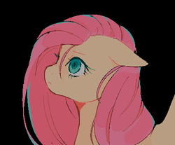 Size: 432x358 | Tagged: artist:serafelis, black background, bust, female, floppy ears, fluttershy, frown, looking up, mare, pegasus, pixel art, pony, profile, safe, simple background, solo, stray strand