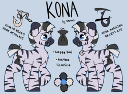 Size: 3500x2605 | Tagged: safe, artist:spoopygander, oc, oc:kona, pony, chest fluff, cutie mark, happy, hook, jewelry, male, markings, multicolored hair, necklace, open mouth, reference sheet, smiling, stallion, stripes, text, zeeb