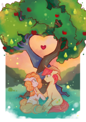 Size: 1320x1879 | Tagged: apple, apple tree, artist:pinweena30, brightbutter, bright mac, closed eye, cowboy hat, earth pony, female, food, happy, hat, heart, intertwined trees, looking at each other, love, male, mare, pear butter, pear tree, pony, romantic, safe, season 7, shipping, straight, the perfect pear, tree
