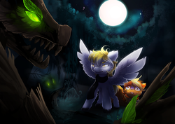 Size: 2339x1654   Tagged: safe, artist:nutty-stardragon, oc, oc only, oc:serenity, oc:white feather, pegasus, pony, timber wolf, bruised, clothes, commission, forest, full moon, glowing eyes, green eyes, moon, night, open mouth, protecting, scarf, stars, tree