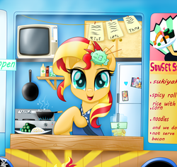 Size: 5300x5000 | Tagged: safe, artist:theretroart88, applejack, fluttershy, pinkie pie, rainbow dash, rarity, sunset shimmer, twilight sparkle, pony, puffer fish, unicorn, equestria girls, cute, equestria girls ponified, female, food, food truck, hairpin, happy, jar, looking at you, mane six, mare, menu, money, movie accurate, photo, ponified, refrigerator, shimmerbetes, stove, sunset sushi, sushi, television, wasabi