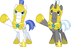 Size: 9000x6000 | Tagged: safe, artist:chainchomp2, pegasus, pony, unicorn, the crystal empire, .svg available, absurd resolution, armor, duo, helmet, hoof shoes, male, pegasus royal guard, raised hoof, royal guard, royal guard armor, simple background, stallion, transparent background, unicorn royal guard, vector