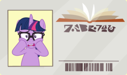 Size: 1280x757 | Tagged: safe, artist:cloudyglow, artist:phucknuckl, edit, editor:secrettitan, vector edit, sci-twi, twilight sparkle, pony, unicorn, equestria girls, equestria girls series, spring breakdown, the point of no return, spoiler:eqg series (season 2), equestria girls ponified, female, inkscape, library card, looking at you, mare, open mouth, ponified, sci-twi's pony reaction, shocked expression, simple background, solo, template, unicorn sci-twi, vector, written equestrian