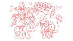 Size: 1280x720 | Tagged: adopted offspring, alternate universe, artist:carouselunique, big macintosh, boop, cadmac, changedling, changeling, colt, earth pony, family, female, filly, flower, flower in hair, flying, freckles, male, mare, missing accessory, missing cutie mark, monochrome, noseboop, oc, oc:ambrosia, oc:cortland, oc:honeycrisp blossom, offspring, parent:big macintosh, parent:princess cadance, parents:cadmac, pegasus, pegasus cadance, pony, princess cadance, safe, shipping, simple background, stallion, straight, thorax, white background, younger