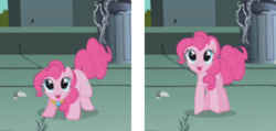 Size: 630x300 | Tagged: safe, edit, edited screencap, screencap, pinkie pie, earth pony, pony, friendship is magic, animation error, castle of the royal pony sisters, comparison, cropped, crouching, element of laughter, female, mare