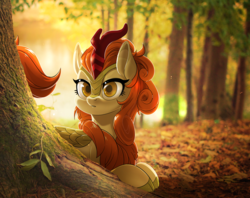 Size: 2400x1900 | Tagged: safe, artist:renokim, autumn blaze, kirin, :o, awwtumn blaze, cloven hooves, colored pupils, cute, featured image, female, forest, irl, looking at you, mare, nature, open mouth, outdoors, photo, ponies in real life, prone, scales, solo, tree, under the tree, wide eyes