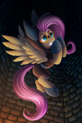 Size: 1648x2486 | Tagged: safe, artist:atlas-66, fluttershy, pegasus, pony, sparkle's seven, animal ears, bunny ears, claustrophobia, clothes, costume, dangerous mission outfit, female, goggles, hoodie, panic attack, panicking, wings