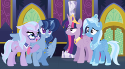 Size: 1024x570 | Tagged: artist:themexicanpunisher, family, female, lesbian, magical lesbian spawn, offspring, parents:twixie, parent:trixie, parent:twilight sparkle, pony, safe, shipping, trixie, twilight sparkle, twixie