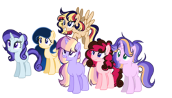 Size: 600x344 | Tagged: artist:thesmall-artist, base used, earth pony, female, magical lesbian spawn, mare, oc, oc only, offspring, parent:applejack, parent:cheese sandwich, parent:flash sentry, parent:fluttershy, parent:pinkie pie, parent:princess luna, parent:rainbow dash, parent:rarity, parents:cheesepie, parents:flashimmer, parents:glimmerjack, parents:lunashy, parents:rarixie, parent:starlight glimmer, parents:twidash, parent:sunset shimmer, parent:trixie, parent:twilight sparkle, pegasus, pony, safe, simple background, transparent background, unicorn