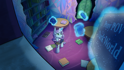 Size: 4267x2400 | Tagged: safe, artist:klarapl, oc, oc only, oc:untitled work, pony, unicorn, pony pov series, blank stare, book, bookshelf, bow, clothes, dirt, discorded, dress, female, frills, glowing horn, green eyes, horn, library, magic, maid, mare, open book, polka dots, table, telekinesis, twilight's castle, twilight's castle library