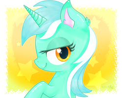Size: 5000x4000 | Tagged: artist:yunyeyoung, bedroom eyes, blushing, bust, cute, ear fluff, female, heart eyes, lyrabetes, lyra heartstrings, mare, pony, portrait, profile, safe, solo, stars, unicorn, wingding eyes
