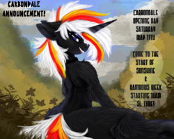 Size: 1280x1024 | Tagged: announcement, artist:brainiac, collar, fallout equestria, fluffy, frog (hoof), oc, oc:velvet remedy, safe, second life, solo, text, underhoof