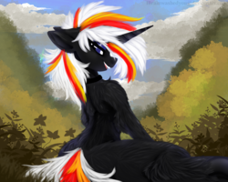 Size: 1280x1024 | Tagged: announcement, artist:brainiac, collar, fallout equestria, fanfic, fanfic art, female, fluffy, frog (hoof), hooves, horn, mare, oc, oc:velvet remedy, open mouth, pony, safe, second life, solo, text, underhoof, unicorn