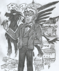 Size: 964x1168 | Tagged: 1930s, artist:newman134, booze, car, cider, cigar, dice, equestria girls, gangster, griffon, hand drawing, human, humanized, mafia, moonshine still, oc, oc:giovanni, oc living in a different time period, pencil drawing, roulette, safe, silhouette, tommy gun, traditional art