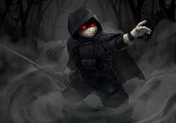 Size: 4000x2800 | Tagged: anthro, artist:atryl, crossover, glowing eyes, gun, hunt showdown, oc, oc:lancer, safe, solo, weapon