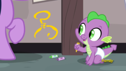 Size: 1920x1080 | Tagged: baby, baby dragon, baby spike, crayon, crayon drawing, cthulhu mythos, cute, daaaaaaaaaaaw, diaper, discovery family logo, dragon, edit, edited screencap, happy, innocent, offscreen character, safe, screencap, smiling, sparkle's seven, spikabetes, spike, spoiler:s09e04, the yellow sign, traditional art, twilight sparkle