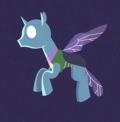 Size: 2026x2063 | Tagged: safe, artist:gd_inuk, changedling, changeling, background changeling, dark background, empty eyes, flying, lighting, lineless, no mouth