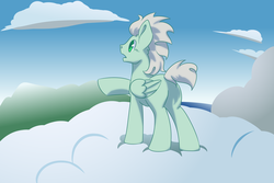 Size: 3000x2000 | Tagged: artist:jennithedragon, cloud, legends of equestria, male, oc, oc only, oc:the ancient aviator, pegasus, pony, safe, scenery, solo, stallion