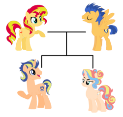 Size: 1124x1072 | Tagged: artist:themexicanpunisher, family, family tree, female, flashimmer, flash sentry, male, offspring, parent:flash sentry, parents:flashimmer, parent:sunset shimmer, pony, safe, shipping, straight, sunset shimmer