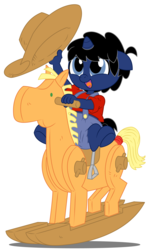 Size: 6000x10000 | Tagged: age regression, anthro, artist:evilfrenzy, baby, diaper, foal, hat, oc, oc:frenzy, oc only, rocking horse, rugrats, safe, sleeping, solo, unguligrade anthro, unicorn