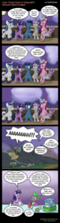 Size: 1000x3730 | Tagged: airship, alicorn, artist:pacificgreen, bandage, chocolate, comic, female, food, hot chocolate, mother and daughter, night light, oh crap, once upon a zeppelin, princess cadance, princess flurry heart, reality ensues, safe, shining armor, spike, twilight sparkle, twilight sparkle (alicorn), twilight velvet, wide eyes, zeppelin