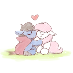 Size: 621x621 | Tagged: safe, artist:sugar morning, oc, oc only, oc:bizarre song, oc:sugar morning, pony, couple, female, happy, heart, kissing, male, mare, oc x oc, shipping, simple background, sitting, smiling, stallion, sugarre, white background