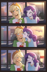 Size: 1300x1961 | Tagged: applejack, artist:tcn1205, cute, equestria girls, female, jackabetes, kissing, laughing, lesbian, raribetes, rarijack, rarity, safe, shipping