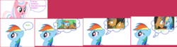 Size: 4776x1282 | Tagged: balloon, ball pit, blushing, clear sky, common ground, dialogue, earth pony, oh come on, pegasus, plot, pony, quibbledash, quibble pants, rainbow dash, safe, shipping, shipping denied, speech bubble, spoiler:s09e06, straight, stranger than fan fiction, stupid memories, sweat, text, that's inappropriate, touching face, unicorn, well