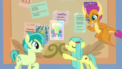 Size: 1920x1080 | Tagged: safe, screencap, ocellus, sandbar, smolder, changeling, dragon, earth pony, pony, she's all yak, spoiler:s09e07, discovery family logo, disguise, disguised changeling, female, male, pony ocellus