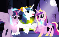 Size: 786x501 | Tagged: alicorn, artist:disneymarvel96, brooch, cape, clasp, clothes, crown, disney, glow, jewelry, light up, maid marian, moon, musical number, necklace, night, pony, princess cadance, regalia, robin hood, safe, shining armor, singing, song, sparkling, tiara, twilight sparkle, twilight sparkle (alicorn), veil