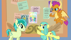 Size: 1280x720 | Tagged: safe, screencap, ocellus, sandbar, smolder, changeling, dragon, earth pony, pony, she's all yak, disguise, disguised changeling, extended trot pose, female, male, pony ocellus, written equestrian