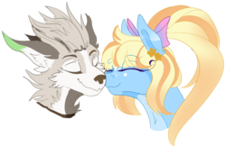 Size: 1603x1036 | Tagged: artist:coffeevixxen, diamond dog, earth pony, female, head shot, male, mare, nuzzling, oc, oc:malachite, oc only, oc:summer breeze, oc x oc, pony, safe, shipping, ych result