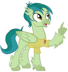Size: 850x900 | Tagged: adric, artist:sixes&sevens, classical hippogriff, clothes, doctor who, hippogriff, hippogriffied, male, raised claw, safe, shirt, simple background, species swap, transparent background, t-shirt