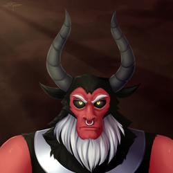 Size: 3000x3000 | Tagged: safe, artist:setharu, lord tirek, centaur, bust, crepuscular rays, looking at you, male, nose piercing, piercing, portrait, solo