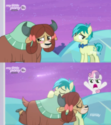Size: 500x562 | Tagged: artist:pinkiepiiiie, blushing, editor:secrettitan, female, filly, hearts and hooves day, hearts and hooves day (episode), hug, interspecies, just kiss already, male, oh come on, pony, safe, sandbar, screencap, she's all yak, shipping, shooting star, simple background, spoiler:s09e07, straight, sweetie belle, transparent background, treehouse of harmony, unicorn, vector, yak, yona, yonabar