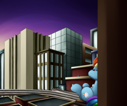 Size: 3000x2500 | Tagged: artist:panzish, building, city, rainbow dash, safe, sunset