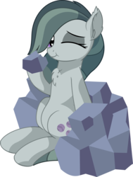 Size: 5668x7491 | Tagged: absurd res, artist:cyanlightning, chest fluff, clothes, ear fluff, earth pony, ear tufts, eating, eyeshadow, female, hoof hold, looking at you, makeup, marble pie, mare, one eye closed, pony, rock, safe, simple background, sitting, smiling, solo, .svg available, :t, transparent background, vector, wink