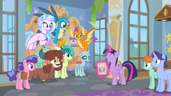 Size: 1366x768 | Tagged: safe, screencap, gallus, november rain, ocellus, sandbar, silverstream, smolder, twilight sparkle, yona, alicorn, changedling, changeling, classical hippogriff, dragon, earth pony, griffon, hippogriff, pony, yak, she's all yak, animated, bow, carpet, cloven hooves, colored hooves, cute, discovery family logo, dragoness, female, floppy ears, flying, friendship student, gif, glowing horn, hair bow, hallway, horn, jewelry, levitation, magic, male, mare, monkey swings, necklace, poster, school of friendship, student six, teenager, telekinesis, twilight sparkle (alicorn)
