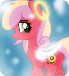 Size: 740x811 | Tagged: safe, artist:ipandacakes, oc, oc:gala blossom, earth pony, pony, angel, female, halo, mare, offspring, parent:big macintosh, parent:cheerilee, parents:cheerimac, plot, shy, solo