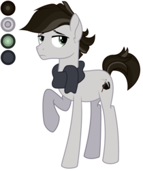 Size: 2432x2900 | Tagged: safe, artist:diamond-chiva, oc, oc:charcoal pie, earth pony, pony, clothes, male, offspring, parent:maud pie, parent:mud briar, parents:maudbriar, scarf, simple background, solo, stallion, transparent background