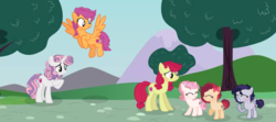 Size: 3280x1452 | Tagged: safe, artist:spectrumnightyt, apple bloom, scootaloo, sweetie belle, oc, oc:apple dance, oc:beauty spirit, oc:speed stroke, earth pony, pegasus, pony, unicorn, bandaid, base used, cutie mark crusaders, female, filly, flying, high res, offspring, older, parent:apple bloom, parent:button mash, parent:rumble, parent:scootaloo, parent:sweetie belle, parent:tender taps, parents:rumbloo, parents:sweetiemash, parents:tenderbloom, scootaloo can fly